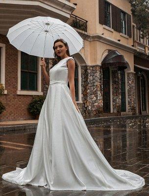Robes de mariée A-Ligne Traîne Tribunal Sans Manches Ceinture Bijou Cou Robes De Mariée Exclusif_4