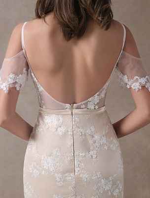 Boho Wedding Dresses Champagne Lace Beach Bridal Dress Mermaid V Neck Backless Beaded Summer Wedding Gowns Exclusive_8