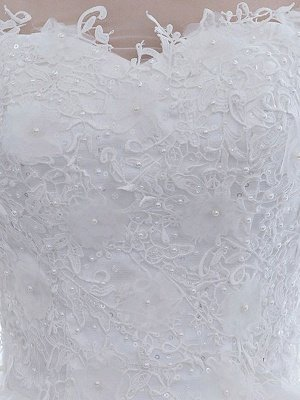 Elegant Wedding Dresses White Off The Shoulder Half Sleeves Soft Tulle Lace Up Floor Length Bride Dresses_6