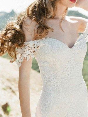 Einfache Brautkleider 2021 Lace Sweetheart Off The Shoulder Mermaid Brautkleid mit Zug für Boho-Hochzeit_6
