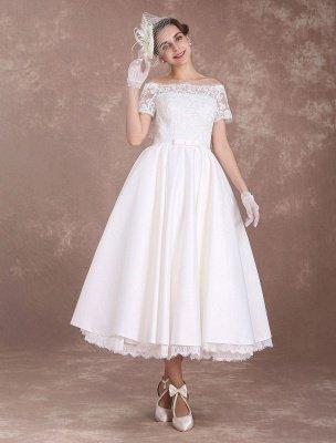 Robes de mariée courtes Robe de mariée vintage des années 1950 Bateau en dentelle à manches courtes Ivoire Bow Sash Thé Longueur Robe de réception de mariage Exclusive_2