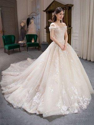 Prinzessin Ballkleid Brautkleider Spitze bestickt Schulterfrei Royal Brautkleid mit Zug_3
