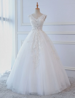 Princess Wedding Dresses Ball Gowns Lace V Neck Sleeveless Floor Length Bridal Gowns_1