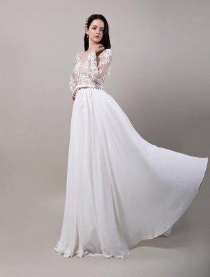 Boho Beach Sheer Lace Mousseline de soie Tulle Manches longues Deep V Back Backless Robe de mariée_6