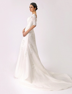 2021 Vintage Inspired Off The Shoulder Mermaid Lace Wedding Gown Exclusive_4
