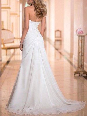 Simple Wedding Dress Sheath Sweetheart Neck Sleeveless Pleated Bridal Dresses With Train_3