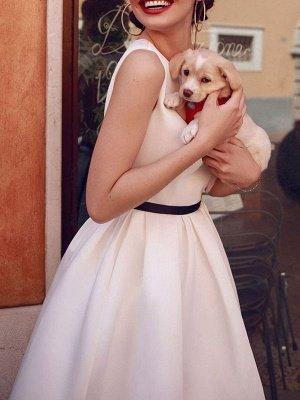 Vintage Wedding Dresses 2021 Bateau Neck Sleeveless Color Stitch The Waist Sash Tea Length Bridal Gowns_3