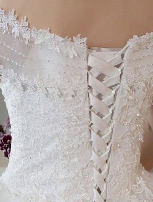 Elfenbein Brautkleider Schulterfrei Spitze Perlen Kathedrale Zug Brautkleid_6