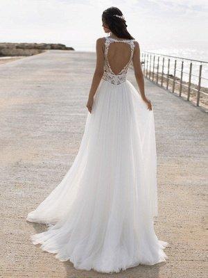 Weißes einfaches Brautkleid V-Ausschnitt ärmellos rückenfrei natürliche Taille Spitze Chiffon A-Linie lange Brautkleider_2