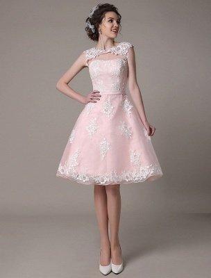 Brautkleid aus Spitze mit Cut-Out Knielang A-Linie Brautkleid mit Satinschleife Exklusiv_3