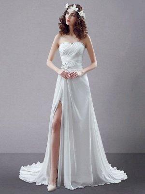 White Wedding Dress Strapless Twisted Split Rhinestone Chiffon Wedding Gown_1