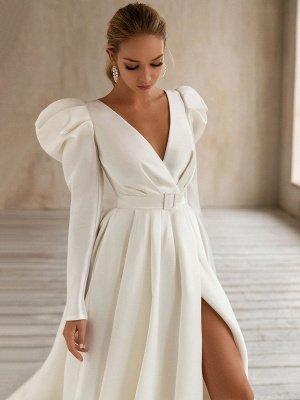 Vintage Brautkleid Weiß Brautkleider mit langen Ärmeln Brautkleid mit V-Ausschnitt A-Linie mit Zug Brautkleider_3