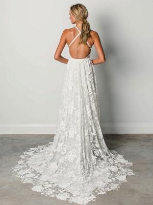Strandhochzeitskleid mit Kapelle-Schleppe Weiß V-Ausschnitt Ärmellos Rückenfrei Spitze Split Lange Brautkleider_3
