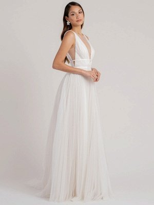 White Simple Wedding Dress A-Line V-Neck Sleeveless Floor-Length Pleated Tulle Bridal Gowns_2