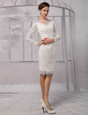Einfache Brautkleider 2021 Kurze Langarm Illusion Ausschnitt Koyhole Knielangen Mantel Brautkleid Exklusiv_5