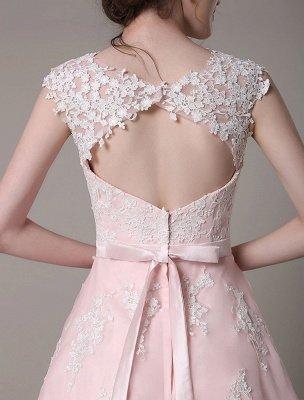 Brautkleid aus Spitze mit Cut-Out Knielang A-Linie Brautkleid mit Satinschleife Exklusiv_8