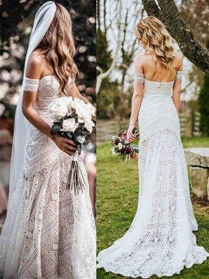 Weißes Spitze Brautkleid bodenlangen Mantel Ärmellos Spitze Schatz-Ausschnitt Brautkleider Zug Kleid_2