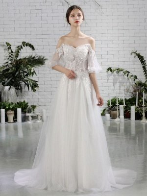 Beach Bridal Dress Ivory Off Shoulder Wedding Gowns Half Sleeve Flowers Beaded Sweetheart Neckline Maxi Wedding Dress For Summer_2