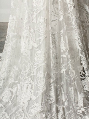 Strandhochzeitskleid mit Kapelle-Schleppe Weiß V-Ausschnitt Ärmellos Rückenfrei Spitze Split Lange Brautkleider_8