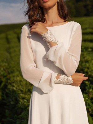Einfaches Hochzeitskleid Lycra Spandex Bateau-Ausschnitt mit langen Ärmeln Spitze A-Linie Brautkleider_8