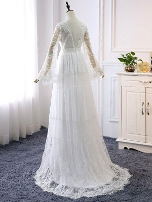 Boho Brautkleider 2021 A Line tiefer V-Ausschnitt Multilayer Lace Chiffon Beach Party Dress Brautkleider_4