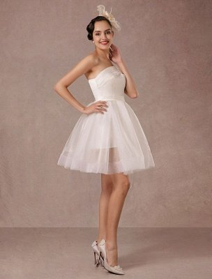 Short Wedding Dress Organza One-Shoulder A-Line Backless Satin Mini Summer Wedding Dresses 2021_4