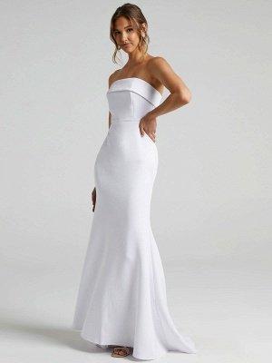 Weißes einfaches Brautkleid Meerjungfrau Pinsel Zug Reißverschluss trägerlose Polyester Brautkleider_2