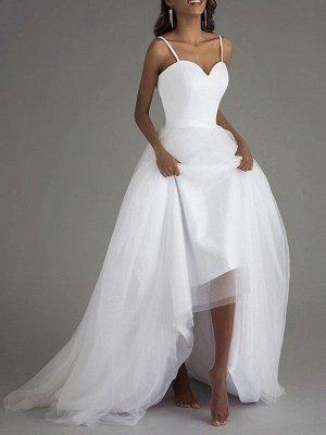 Simple Wedding Dress Tulle Sweetheart Neck Sleeveless Sash A Line Bridal Dresses_2