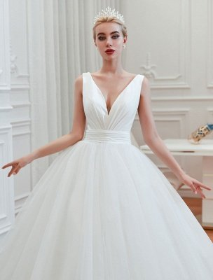 Prinzessin Brautkleid 2021 Ballkleid V-Ausschnitt Ärmellos Natürliche Taille Gericht Zug Brautkleider_3