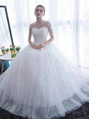 Elegant Wedding Dresses White Off The Shoulder Half Sleeves Soft Tulle Lace Up Floor Length Bride Dresses_5