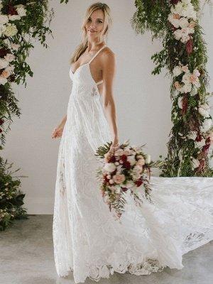Strandhochzeitskleid mit Kapelle-Schleppe Weiß V-Ausschnitt Ärmellos Rückenfrei Spitze Split Lange Brautkleider_2