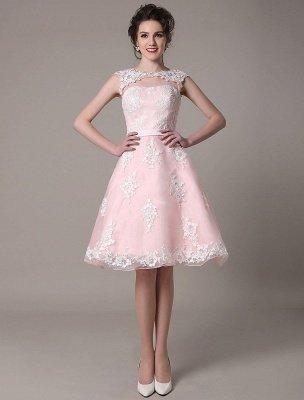 Brautkleid aus Spitze mit Cut-Out Knielang A-Linie Brautkleid mit Satinschleife Exklusiv_4