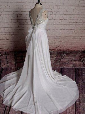 Einfaches Brautkleid A-Linie Spitze V-Ausschnitt Ärmellose Schleifen Brautkleider mit Kapelle Zug_2