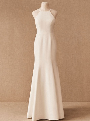 Wedding Dress Halter Sleeveless Bows With Train Bridal Gowns_5