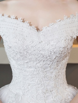 Elfenbein Brautkleider Schulterfrei Spitze Perlen Kathedrale Zug Brautkleid_5