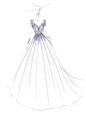 Wedding Dress 2021 V Nevk A Line Long Sleeve Floor Length Lace Applique Tulle Bridal Dresses With Train_5