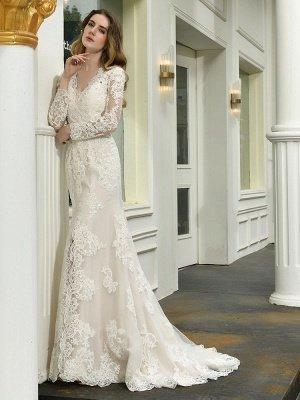 Vestido de novia boho Cuello en V Sin mangas Cintura natural Vestidos de novia de encaje con tren_6