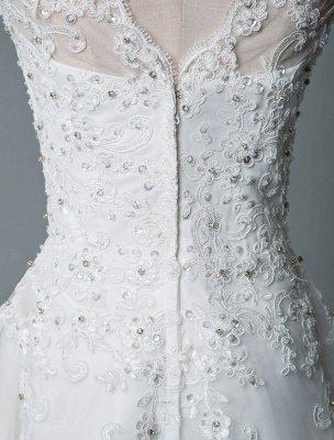 Robe de mariée vintage thé longueur bijou cou sans manches une ligne taille naturelle Tulle courte robe de mariée exclusive_8