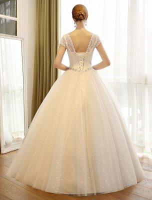 Prinzessin Ballkleid Brautkleider Spitze Pailletten Brautkleid Elfenbein Perlen Schärpe Backless Brautkleider_5