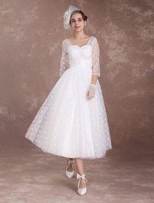 Vintage Wedding Dress Short 1950'S Bridal Dresses Ivory Long Sleeve Open Back Polka Dot Ribbon Sash Wedding Reception Dress Exclusive_3