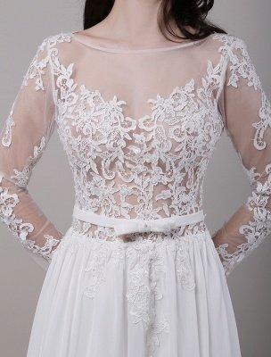 Boho Beach Sheer Lace Mousseline de soie Tulle Manches longues Deep V Back Backless Robe de mariée_8