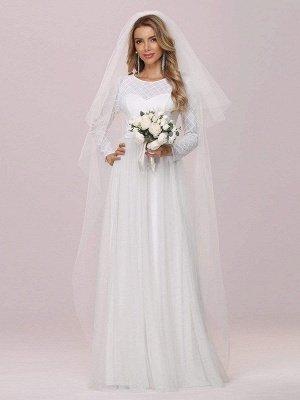 Vestido de novia blanco simple Cuello joya Mangas largas Cintura natural Una línea de tul Vestidos de novia largos_4