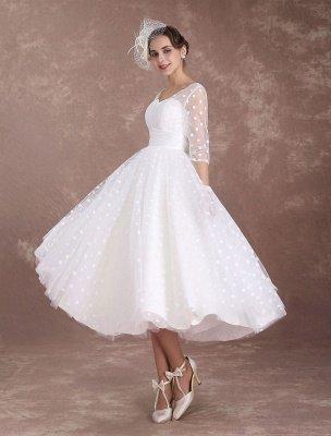 Vintage Wedding Dress Short 1950'S Bridal Dresses Ivory Long Sleeve Open Back Polka Dot Ribbon Sash Wedding Reception Dress Exclusive_2