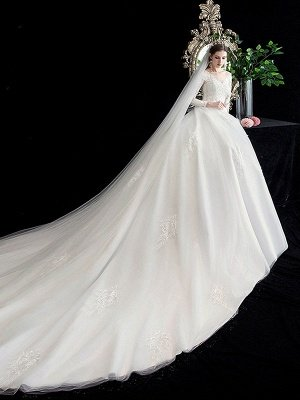 White Wedding Dress Ball Gown Cathedral Train Jewel Neck 3/4 Length Sleeves Natural Waist Applique Satin Fabric Bridal Dresses_3
