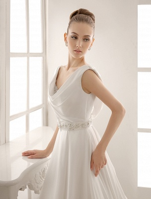 Robe de mariée à col rabattu avec satin plissé exclusif_5
