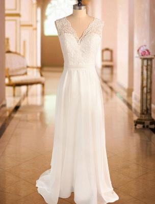 Einfaches Brautkleid A-Linie Spitze V-Ausschnitt Ärmellose Schleifen Brautkleider mit Kapelle Zug_4