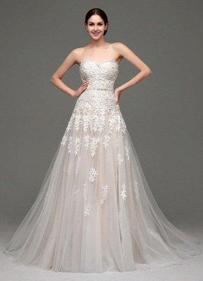 Robes de mariée Champagne Tulle Bretelles Sweatheart Dentelle Sash Robe de mariée_1