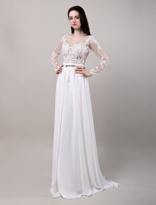 Boho Beach Sheer Lace Mousseline de soie Tulle Manches longues Deep V Back Backless Robe de mariée_3
