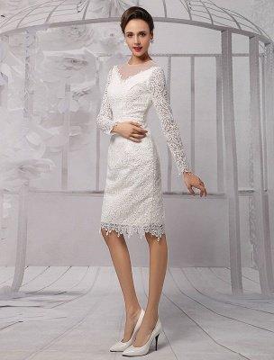 Einfache Brautkleider 2021 Kurze Langarm Illusion Ausschnitt Koyhole Knielangen Mantel Brautkleid Exklusiv_4