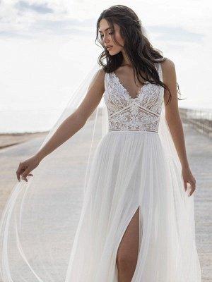 Weißes einfaches Brautkleid V-Ausschnitt ärmellos rückenfrei natürliche Taille Spitze Chiffon A-Linie lange Brautkleider_3